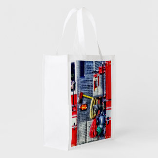 Fire Truck With Hoses and Ax Reusable Grocery Bag