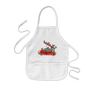 Fire Truck with Kids Apron