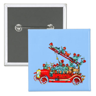 Fire Truck with Kids Square Button