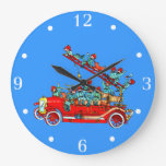 Fire Truck with Kids Wall Clock