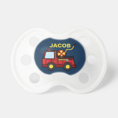 Fire Truck With Name Pacifier at Zazzle