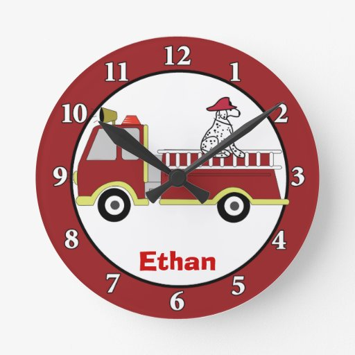 Fire Trucks and Dalmatian Dog Custom Wall Clock