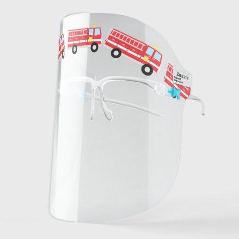 Fire Trucks Cute Vehicles and Cars Cartoon Face Shield
