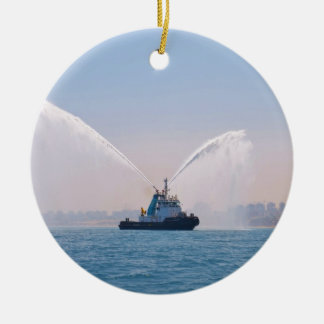 Fire Tug Welcome Double-Sided Ceramic Round Christmas Ornament
