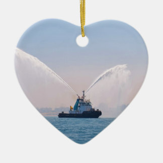 Fire Tug Welcome Double-Sided Heart Ceramic Christmas Ornament