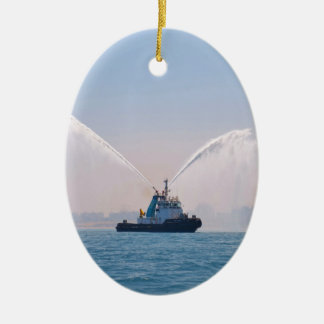 Fire Tug Welcome Double-Sided Oval Ceramic Christmas Ornament