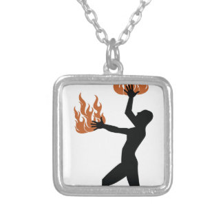 Fire Twirler Silver Plated Necklace