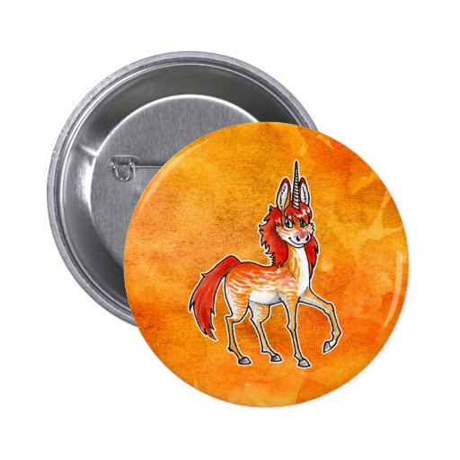 Fire Unicorn 2 Inch Round Button