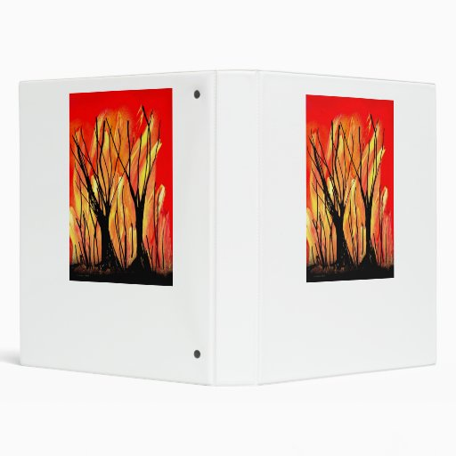 Fire v1 Spray Paint Painting w burnt trees Vinyl Binders