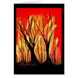 Fire v1 Spray Paint Painting w burnt trees Cards