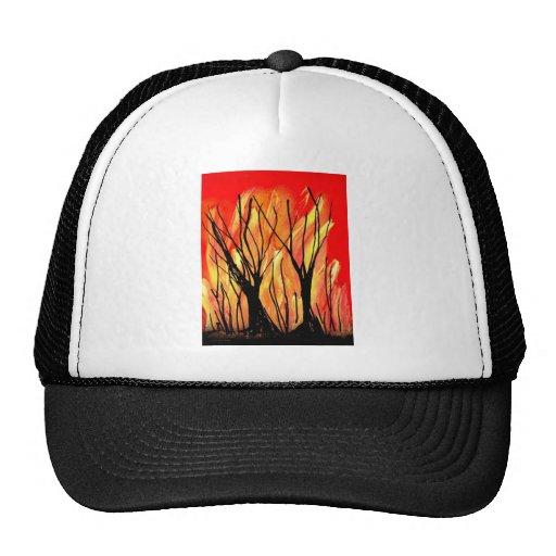 Fire v1 Spray Paint Painting w burnt trees Trucker Hat