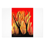 Fire v1 Spray Paint Painting w burnt trees Invitations