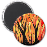 Fire v1 Spray Paint Painting w burnt trees Magnets