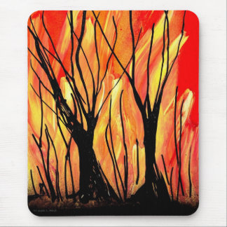 Fire v1 Spray Paint Painting w burnt trees Mouse Pad