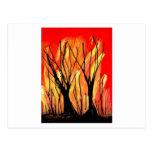 Fire v1 Spray Paint Painting w burnt trees Postcard