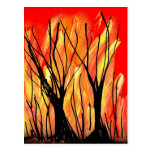 Fire v1 Spray Paint Painting w burnt trees Post Card