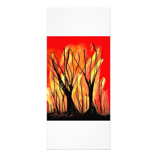 Fire v1 Spray Paint Painting w burnt trees Personalized Rack Card