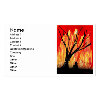 Fire v2 Spray Painting Figure Under Burnt Tree Business Card