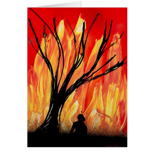 Fire v2 Spray Painting Figure Under Burnt Tree Card