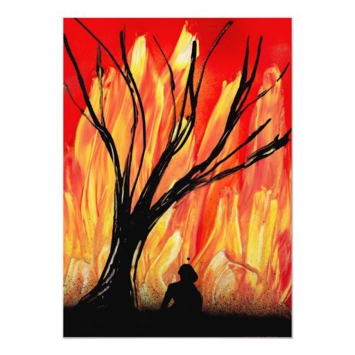 Fire v2 Spray Painting Figure Under Burnt Tree Personalized Announcements
