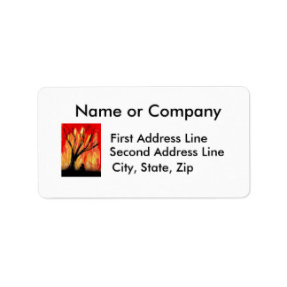 Fire v2 Spray Painting Figure Under Burnt Tree Custom Address Label