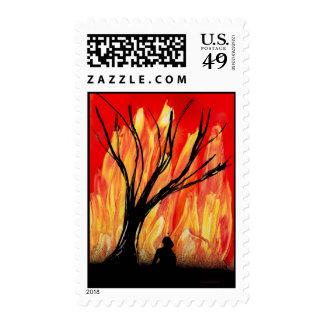 Fire v2 Spray Painting Figure Under Burnt Tree Postage Stamp