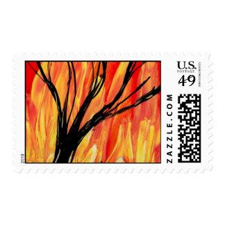 Fire v2 Spray Painting Figure Under Burnt Tree Postage