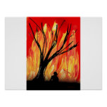 Fire v2 Spray Painting Figure Under Burnt Tree Posters