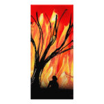 Fire v2 Spray Painting Figure Under Burnt Tree Rack Card Template