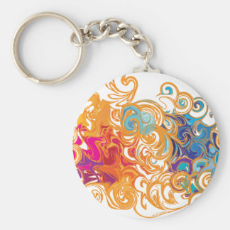 Fire &Water Chariot colourful contemporary drawing Keychain