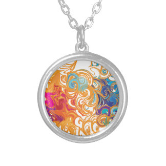 Fire &Water Chariot colourful contemporary drawing Necklaces