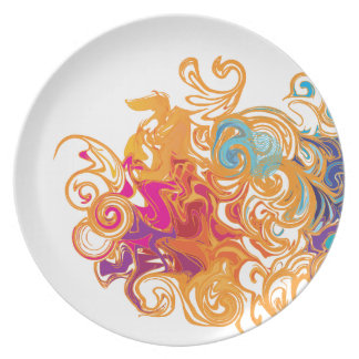 Fire &Water Chariot colourful contemporary drawing Dinner Plates