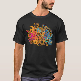 Fire &Water Chariot colourful contemporary drawing T-Shirt