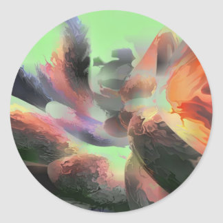 Fire Water Pastel Abstract Classic Round Sticker