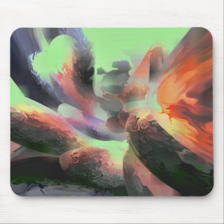 Fire Water Pastel Abstract Mouse Pad