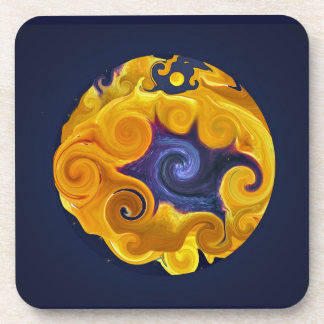 Fire & Water Sphere Abstract Cork Coasters