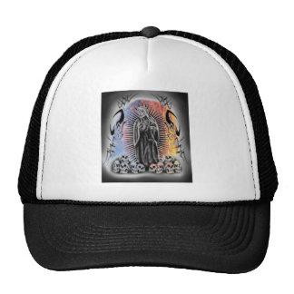 Fire & Water Tribal Skull Grim Reaper Baseball Hat