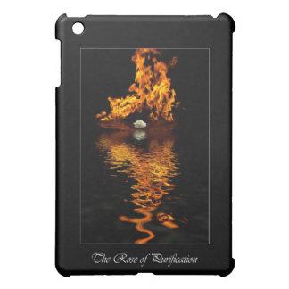 Fire & White Rose Flower Romance iPad Mini Cases
