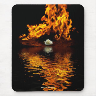 Fire & White Rose Flower Romance Mouse Pad