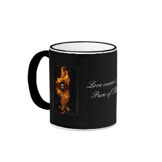 Fire & White Rose Flower Romance Ringer Coffee Mug