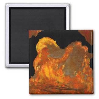 Fire with Jester Oil Painting Magnet