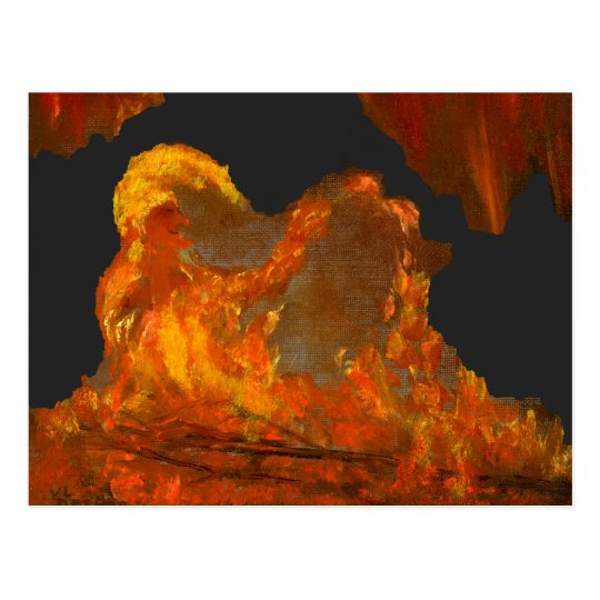 Fire with Jester Oil Painting Postcard