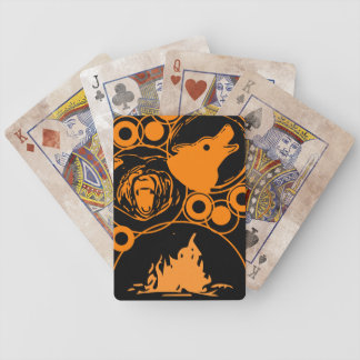 Fire wolf bear design orange and black bicycle playing cards