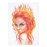 """Fire""-woman surreal portrait pencil art Print Photo Print"