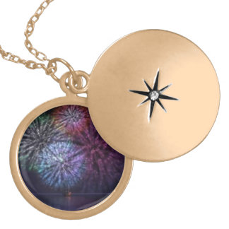 fire works gold plated necklace