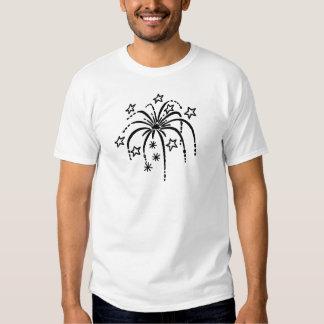 Fire works with stars tee shirt