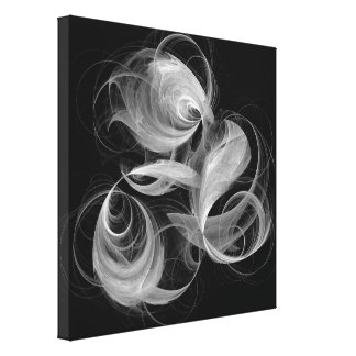 Fireball Abstract Art Black and White Canvas Print