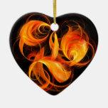 Fireball Abstract Art Heart Ornament