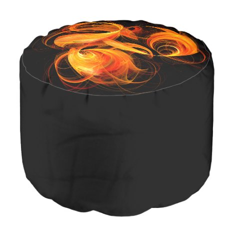 Fireball Abstract Art Round Pouf