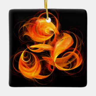 Fireball Abstract Art Square Ornament